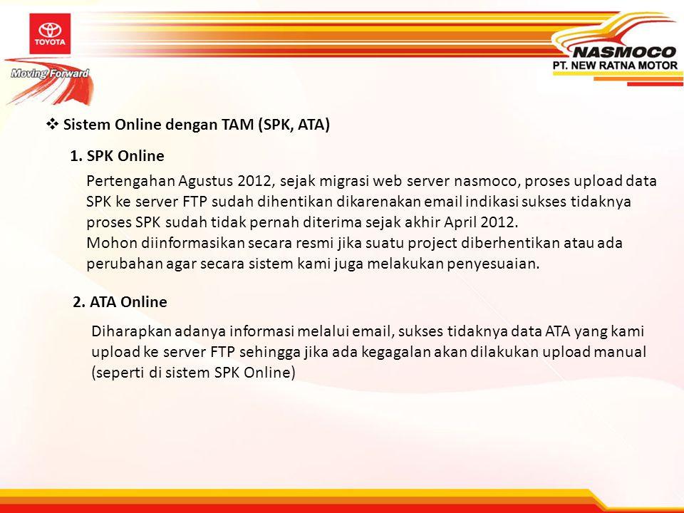  Sistem Online dengan TAM (SPK, ATA) 1. SPK Online 2. ATA Online Pertengahan Agustus 2012, sejak migrasi web server nasmoco, proses upload data SPK k