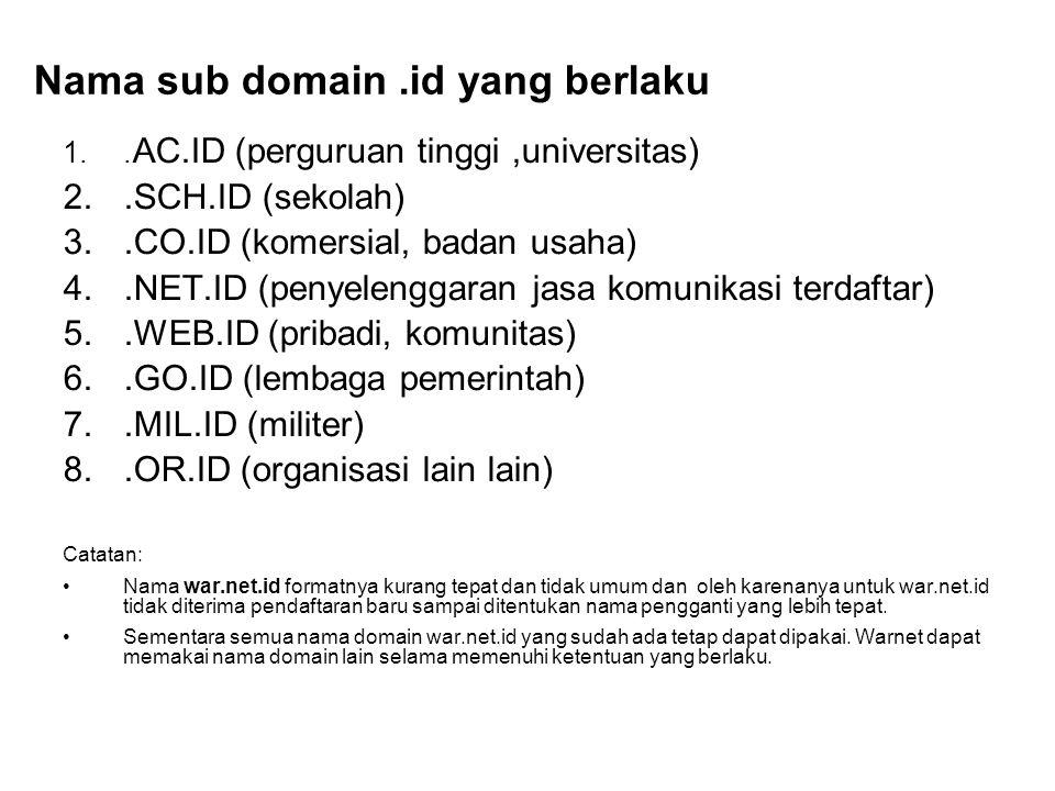 Nama sub domain.id yang berlaku 1.. AC.ID (perguruan tinggi,universitas) 2..SCH.ID (sekolah) 3..CO.ID (komersial, badan usaha) 4..NET.ID (penyelenggar
