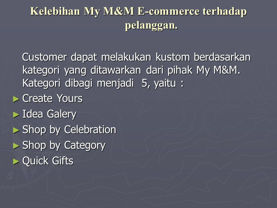 Kelebihan My M&M E-commerce terhadap pelanggan. Customer dapat melakukan kustom berdasarkan kategori yang ditawarkan dari pihak My M&M. Kategori dibag