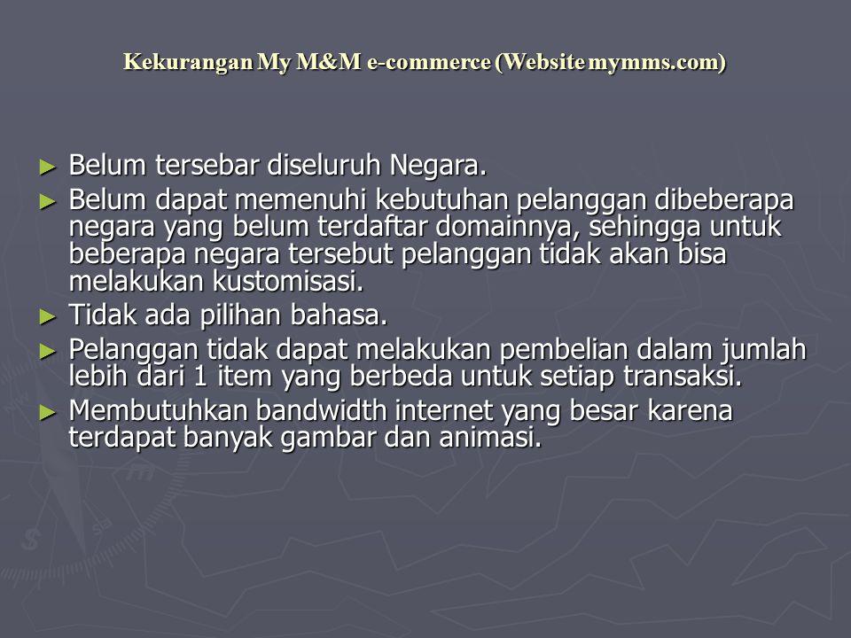 Kekurangan My M&M e-commerce (Website mymms.com) ► Belum tersebar diseluruh Negara.