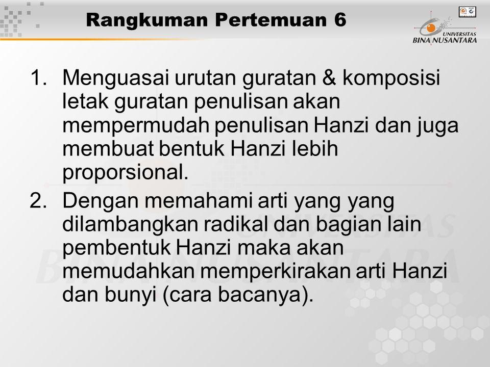 Rangkuman Pertemuan 6 1.Menguasai urutan guratan & komposisi letak guratan penulisan akan mempermudah penulisan Hanzi dan juga membuat bentuk Hanzi le