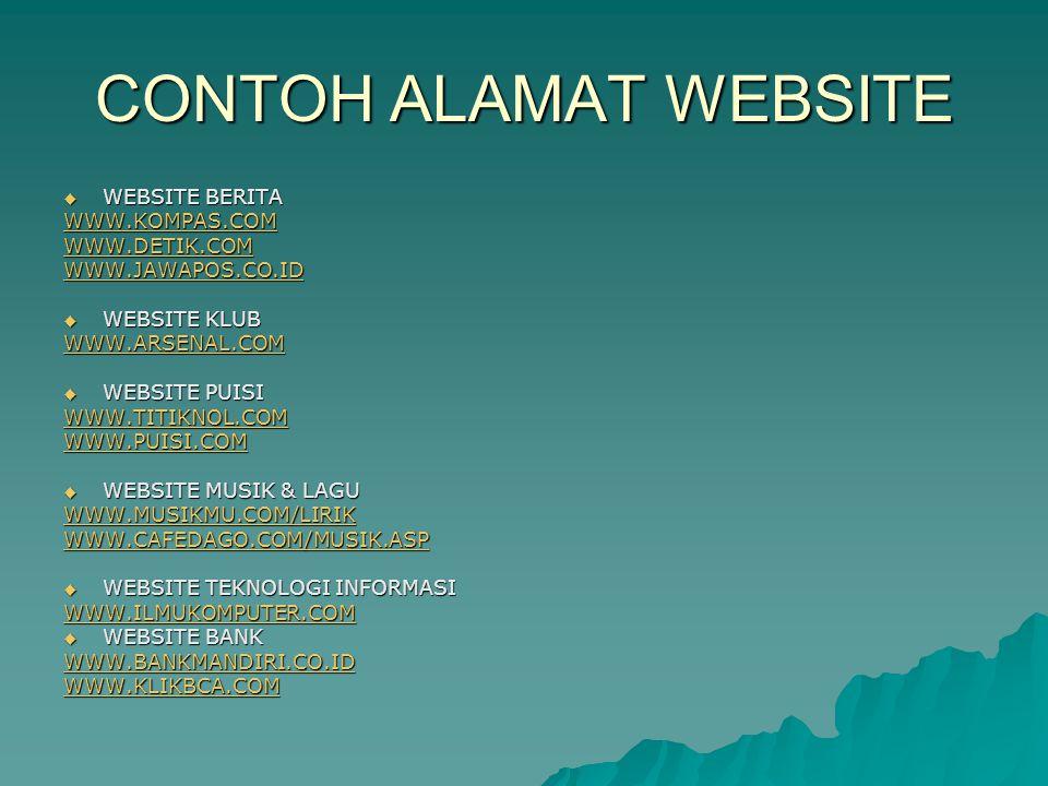 CONTOH ALAMAT WEBSITE  WEBSITE DUNIA PENDIDIKAN www.e-dukasi.net/ www.psbsby-online.net www.depdiknas.go.id  WEBSITE PENERJEMAH BAHASA www.inbahasa.com/main/ www.sederet.com/translate.php  WEBSITE SUPERMARKET www.carrefour.co.id  WEBSITE PEMBUAT EMAIL www.plasa.com/
