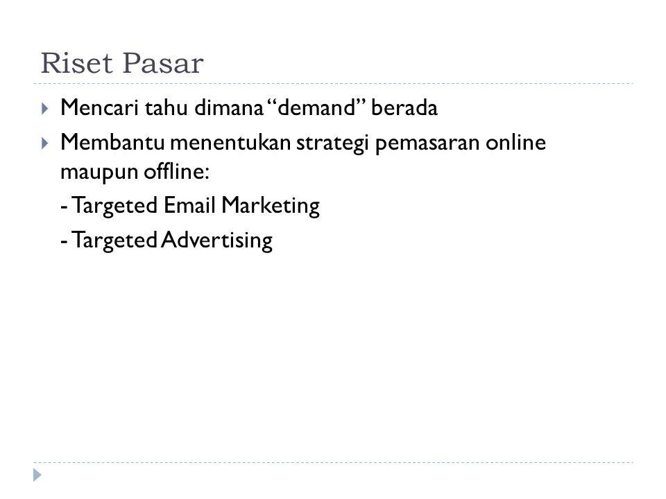 """Riset Pasar  Mencari tahu dimana """"demand"""" berada  Membantu menentukan strategi pemasaran online maupun offline: - Targeted Email Marketing - Targete"""