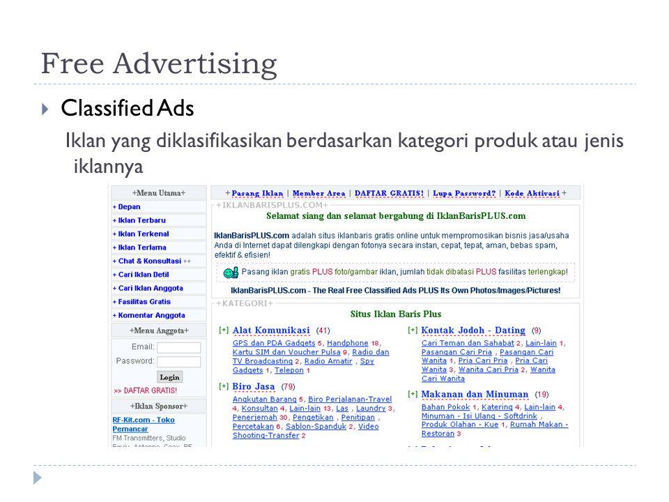 Free Advertising  Classified Ads Iklan yang diklasifikasikan berdasarkan kategori produk atau jenis iklannya