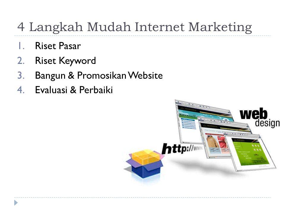 4 Langkah Mudah Internet Marketing 1.Riset Pasar 2.Riset Keyword 3.Bangun & Promosikan Website 4.Evaluasi & Perbaiki