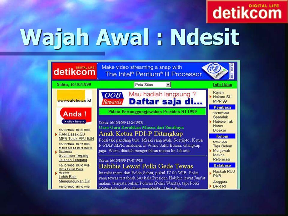 Asal Usul Asal n Mulai online 8 Juli 1998 n Konsep Breaking News n Pemilik : agrakom.com n Modal awal : 1 tape n SDM : Pemred + 1 reporter