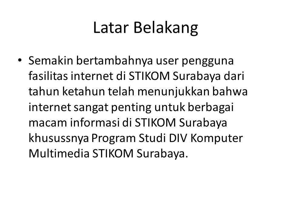 Latar Belakang • Semakin bertambahnya user pengguna fasilitas internet di STIKOM Surabaya dari tahun ketahun telah menunjukkan bahwa internet sangat p