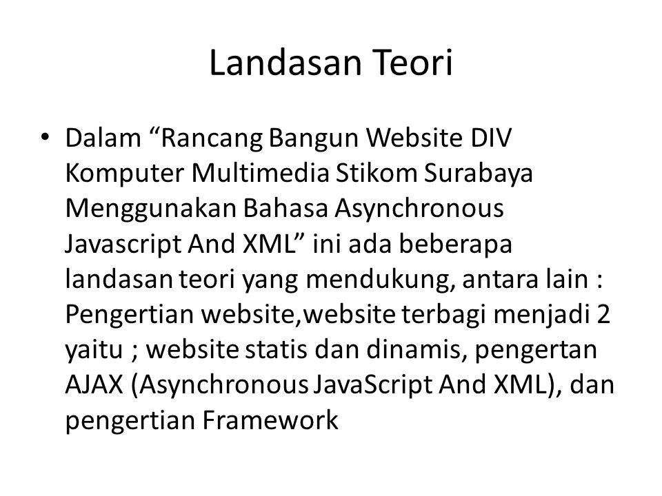 "Landasan Teori • Dalam ""Rancang Bangun Website DIV Komputer Multimedia Stikom Surabaya Menggunakan Bahasa Asynchronous Javascript And XML"" ini ada beb"