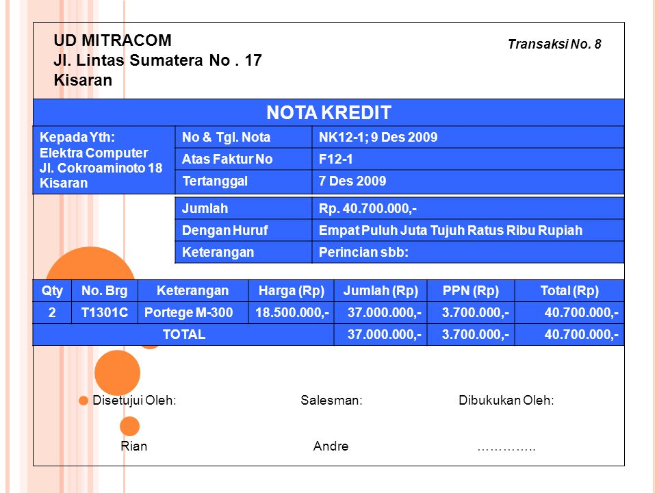 Transaksi No. 8 UD MITRACOM Jl. Lintas Sumatera No. 17 Kisaran JumlahRp. 40.700.000,- Dengan HurufEmpat Puluh Juta Tujuh Ratus Ribu Rupiah KeteranganP