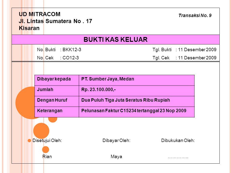 Transaksi No. 9 UD MITRACOM Jl. Lintas Sumatera No. 17 Kisaran Dibayar kepadaPT. Sumber Jaya, Medan JumlahRp. 23.100.000,- Dengan HurufDua Puluh Tiga