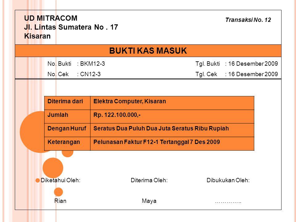Transaksi No. 12 UD MITRACOM Jl. Lintas Sumatera No. 17 Kisaran Diterima dariElektra Computer, Kisaran JumlahRp. 122.100.000,- Dengan HurufSeratus Dua
