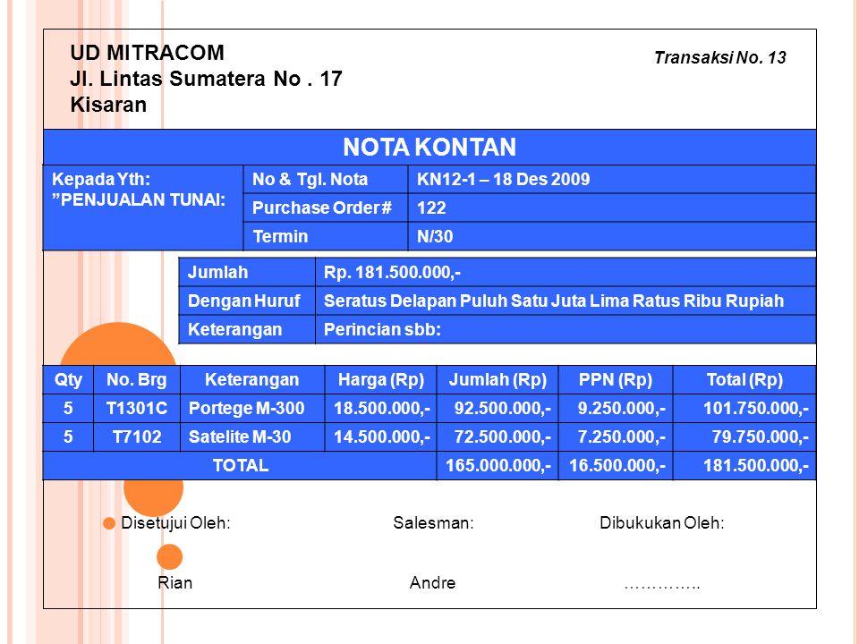 Transaksi No. 13 UD MITRACOM Jl. Lintas Sumatera No. 17 Kisaran JumlahRp. 181.500.000,- Dengan HurufSeratus Delapan Puluh Satu Juta Lima Ratus Ribu Ru