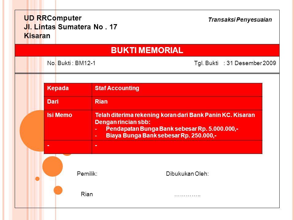 Transaksi Penyesuaian UD RRComputer Jl. Lintas Sumatera No. 17 Kisaran KepadaStaf Accounting DariRian Isi MemoTelah diterima rekening koran dari Bank