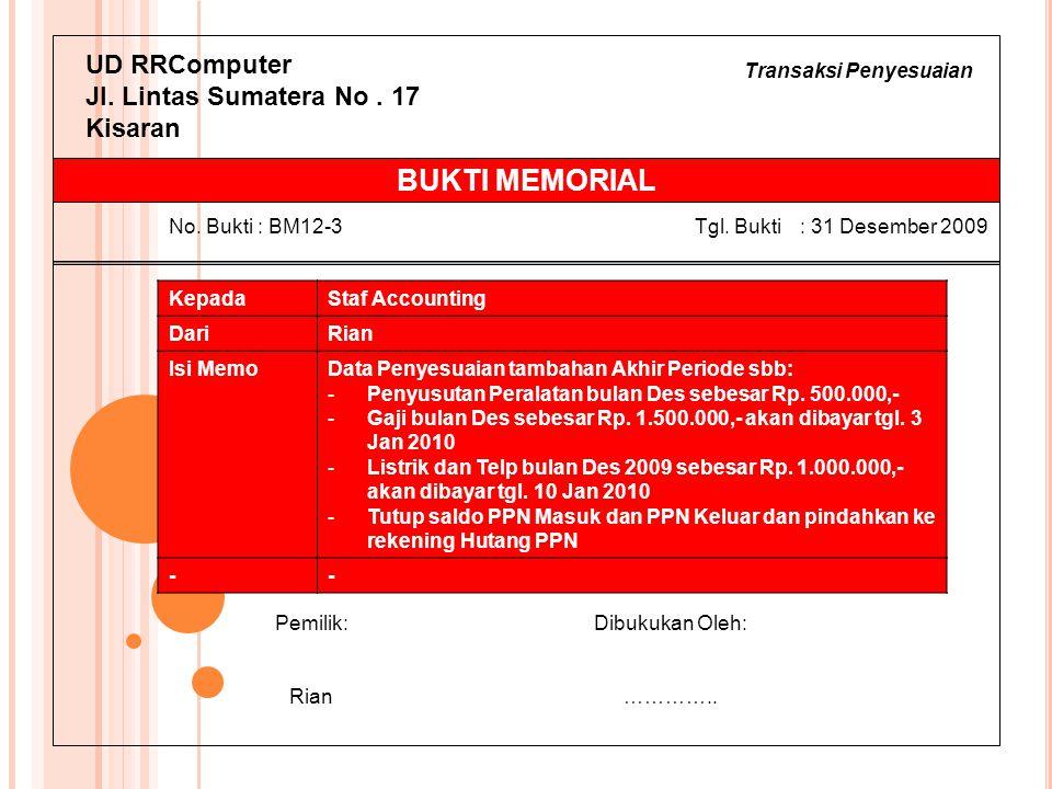 Transaksi Penyesuaian UD RRComputer Jl. Lintas Sumatera No. 17 Kisaran KepadaStaf Accounting DariRian Isi MemoData Penyesuaian tambahan Akhir Periode