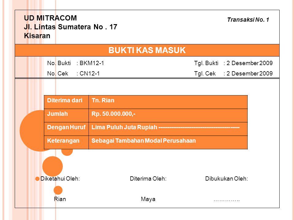Transaksi No. 1 UD MITRACOM Jl. Lintas Sumatera No. 17 Kisaran Diterima dariTn. Rian JumlahRp. 50.000.000,- Dengan HurufLima Puluh Juta Rupiah -------