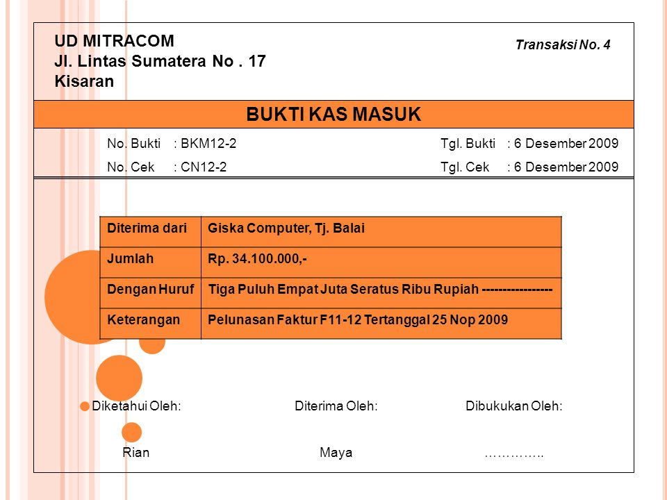 Transaksi No. 4 UD MITRACOM Jl. Lintas Sumatera No. 17 Kisaran Diterima dariGiska Computer, Tj. Balai JumlahRp. 34.100.000,- Dengan HurufTiga Puluh Em