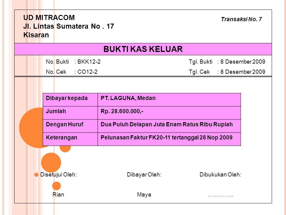 Transaksi No. 7 UD MITRACOM Jl. Lintas Sumatera No. 17 Kisaran Dibayar kepadaPT. LAGUNA, Medan JumlahRp. 28.600.000,- Dengan HurufDua Puluh Delapan Ju