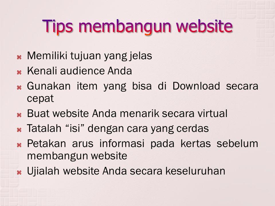  Memiliki tujuan yang jelas  Kenali audience Anda  Gunakan item yang bisa di Download secara cepat  Buat website Anda menarik secara virtual  Tatalah isi dengan cara yang cerdas  Petakan arus informasi pada kertas sebelum membangun website  Ujialah website Anda secara keseluruhan