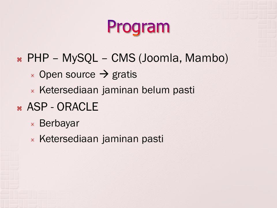  PHP – MySQL – CMS (Joomla, Mambo)  Open source  gratis  Ketersediaan jaminan belum pasti  ASP - ORACLE  Berbayar  Ketersediaan jaminan pasti