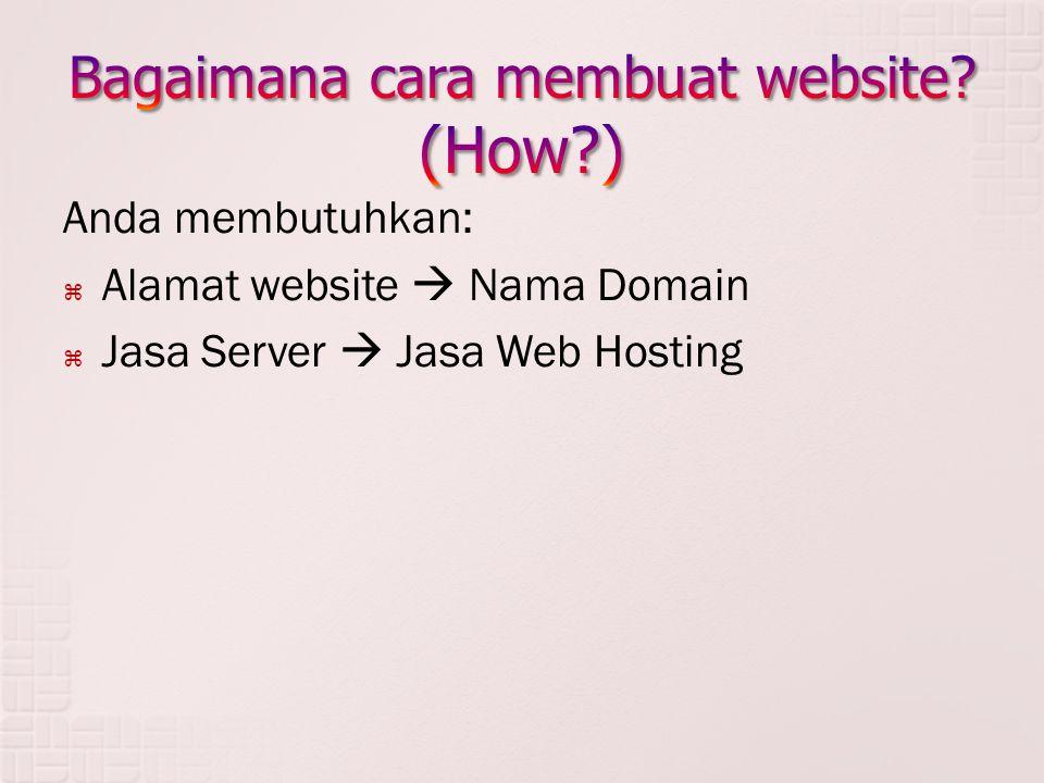 Anda membutuhkan:  Alamat website  Nama Domain  Jasa Server  Jasa Web Hosting