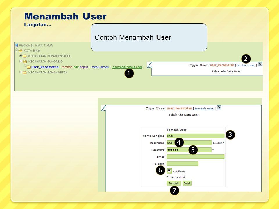 Menambah User Lanjutan… 1 Contoh Menambah User 2 3 4 5 6 7
