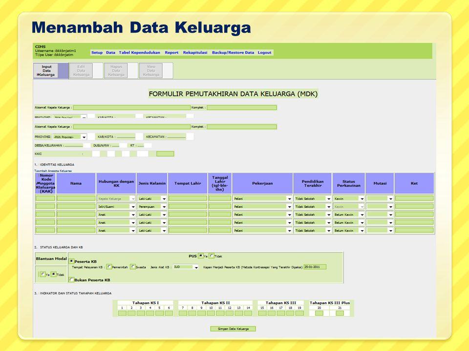Menambah Data Keluarga