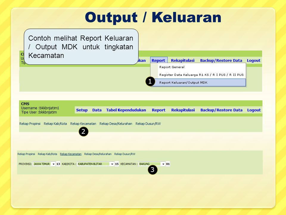 Output / Keluaran 1 2 3 Contoh melihat Report Keluaran / Output MDK untuk tingkatan Kecamatan