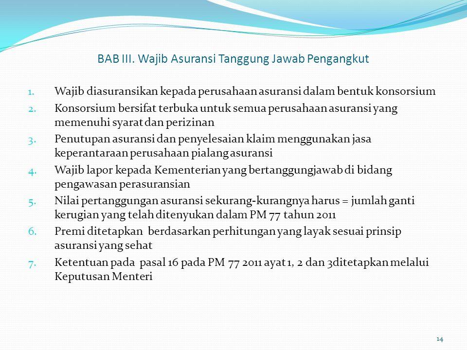 BAB III.Wajib Asuransi Tanggung Jawab Pengangkut 1.