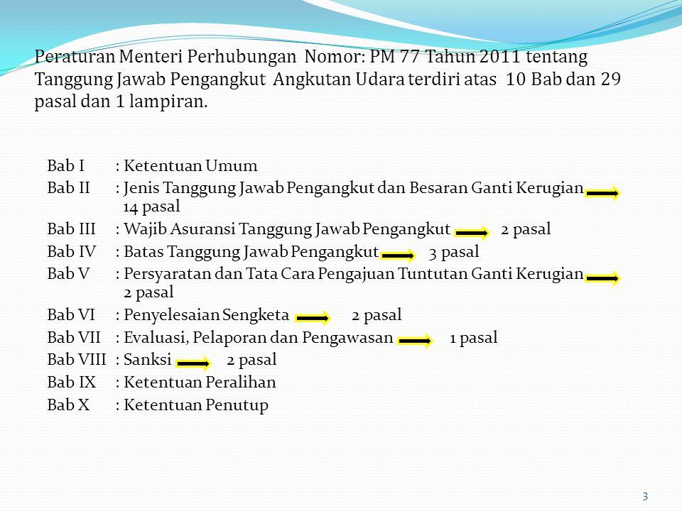 Peraturan Menteri Perhubungan Nomor: PM 77 Tahun 2011 tentang Tanggung Jawab Pengangkut Angkutan Udara terdiri atas 10 Bab dan 29 pasal dan 1 lampiran.