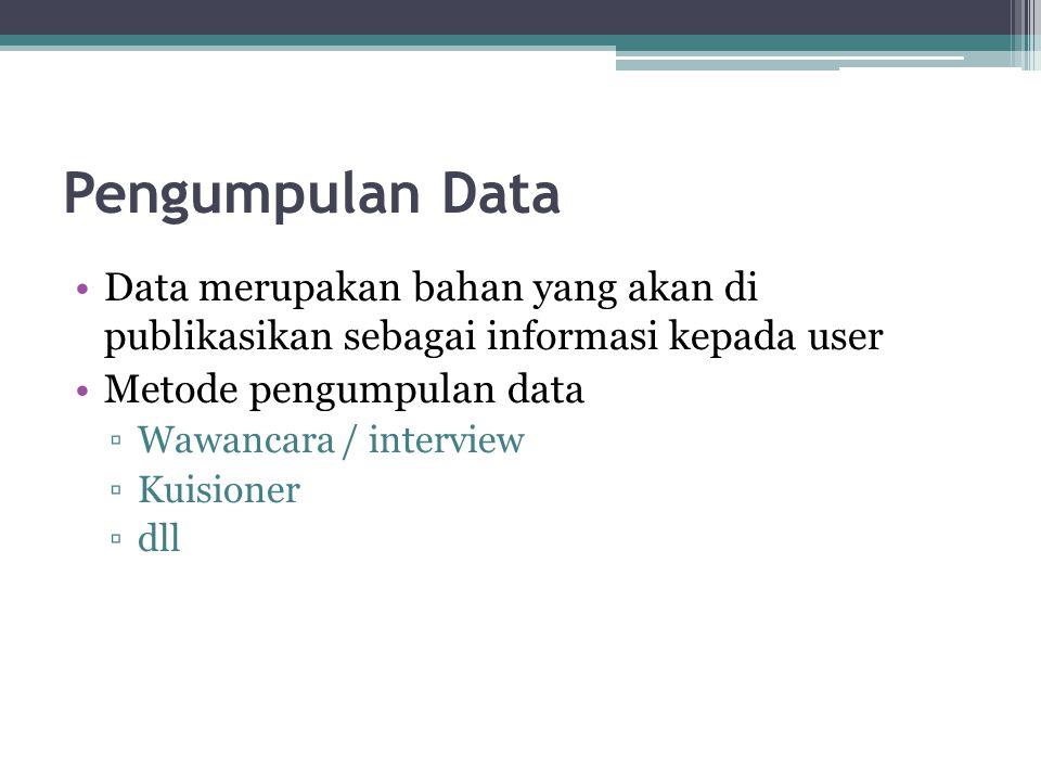 Pengumpulan Data •Data merupakan bahan yang akan di publikasikan sebagai informasi kepada user •Metode pengumpulan data ▫Wawancara / interview ▫Kuisio