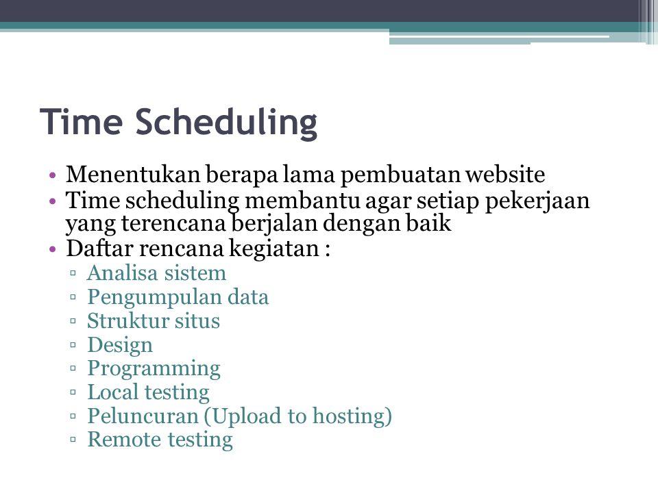 Time Scheduling •Menentukan berapa lama pembuatan website •Time scheduling membantu agar setiap pekerjaan yang terencana berjalan dengan baik •Daftar