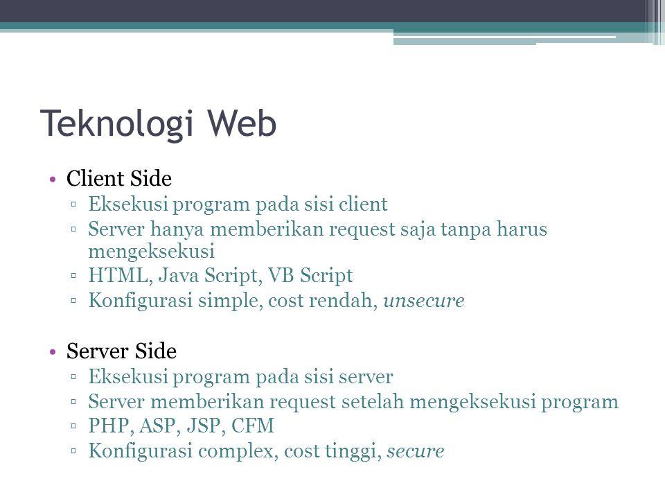 Teknologi Web •Client Side ▫Eksekusi program pada sisi client ▫Server hanya memberikan request saja tanpa harus mengeksekusi ▫HTML, Java Script, VB Sc