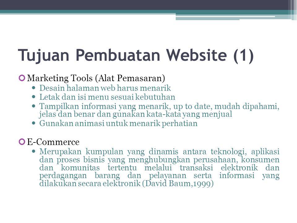 Tujuan Pembuatan Website (2) E-Learning  Website untuk tujuan pendidikan, berisi modul modul pengajaran/pelatihan, video, teleconference, dll Komunitas  Untuk tujuan komunikasi dengan para pengunjung Personal  Tujuan untuk mempromosikan diri sendiri.