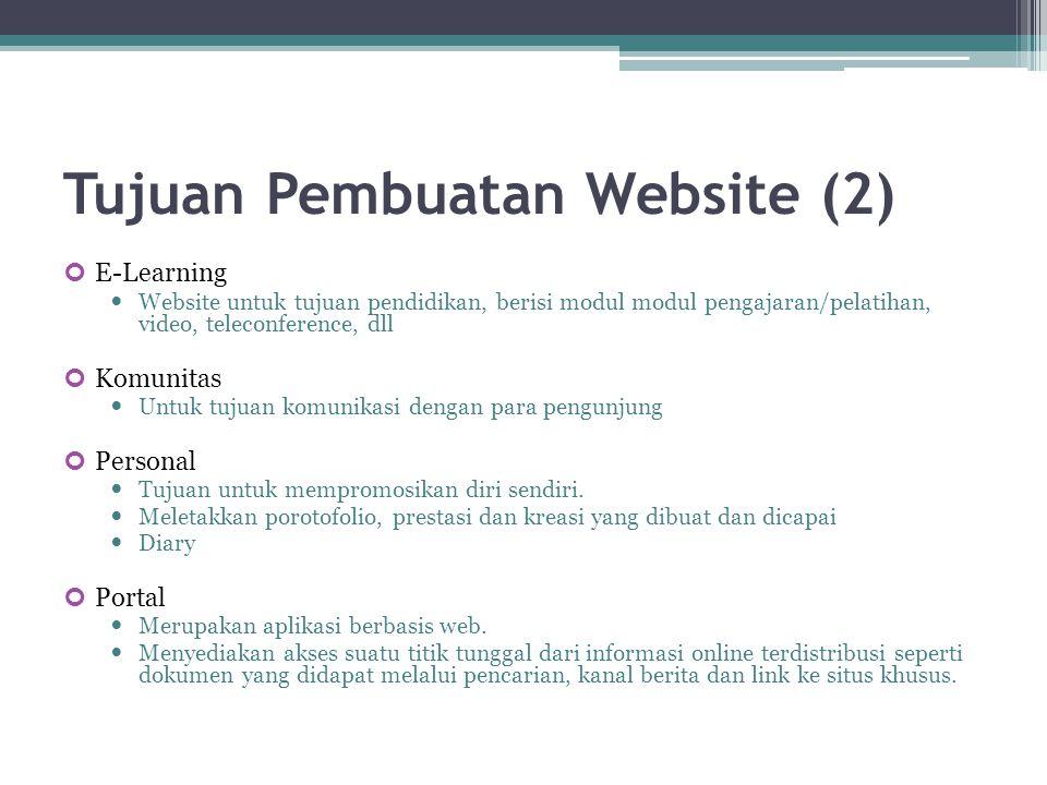 Tujuan Pembuatan Website (2) E-Learning  Website untuk tujuan pendidikan, berisi modul modul pengajaran/pelatihan, video, teleconference, dll Komunit
