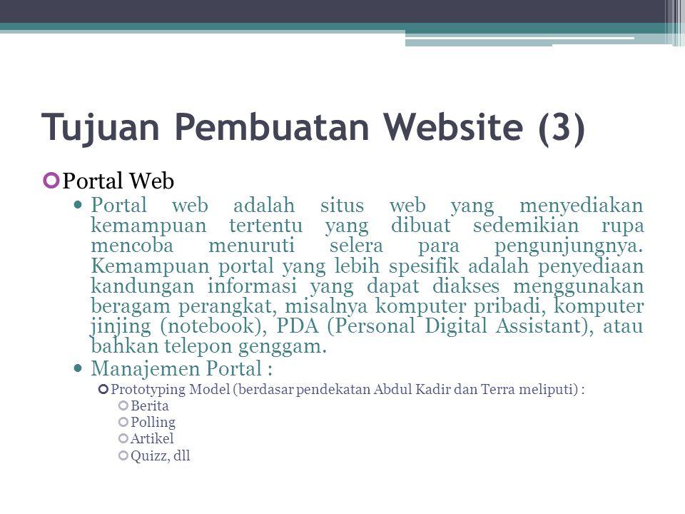 Tujuan Pembuatan Website (3) Portal Web  Portal web adalah situs web yang menyediakan kemampuan tertentu yang dibuat sedemikian rupa mencoba menuruti