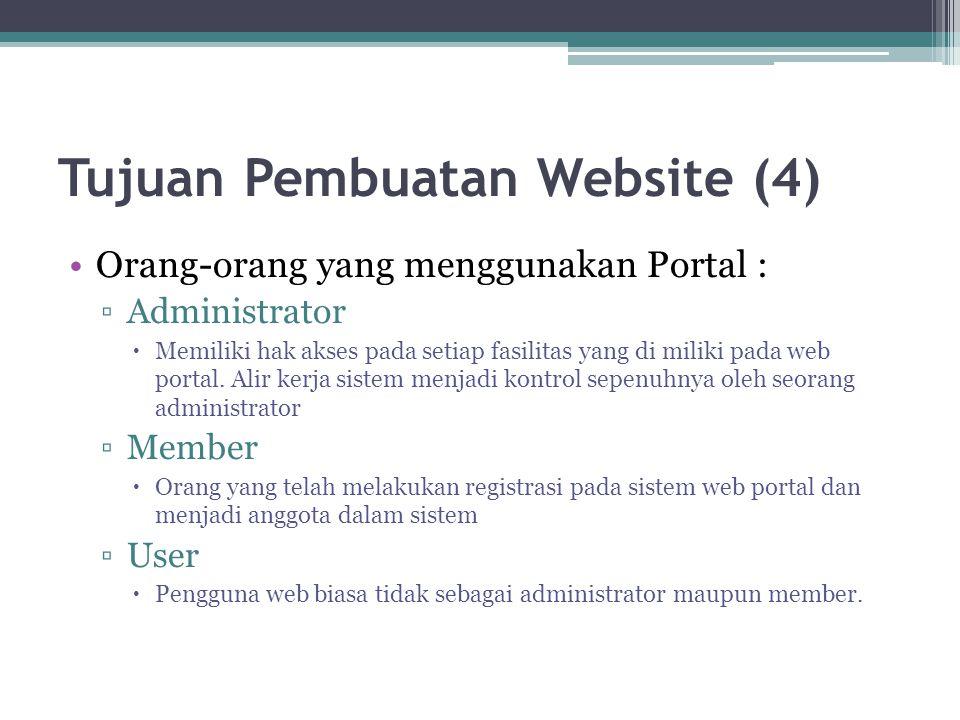 Tujuan Pembuatan Website (4) •Orang-orang yang menggunakan Portal : ▫Administrator  Memiliki hak akses pada setiap fasilitas yang di miliki pada web