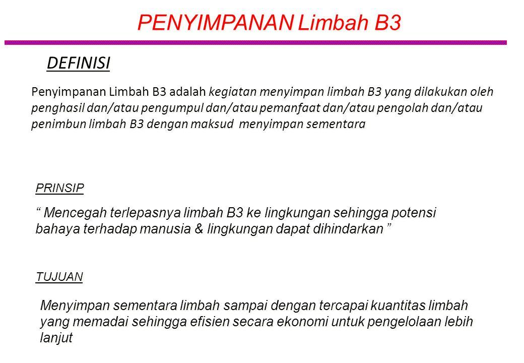 Penyimpanan sementara Limbah B3 : kegiatan menyimpan limbah B3 yg dihasilkan intern oleh satu penghasil Pengumpulan Limbah B3: kegiatan menyimpan limb