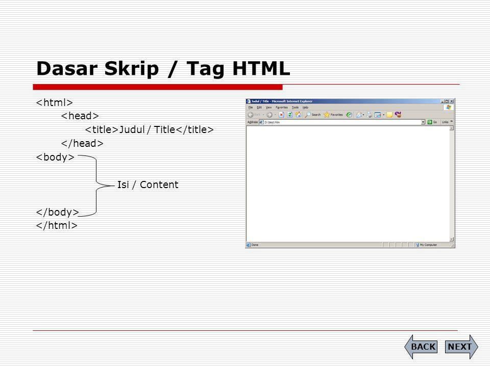 Dasar Skrip / Tag HTML Judul / Title Isi / Content NEXTBACK
