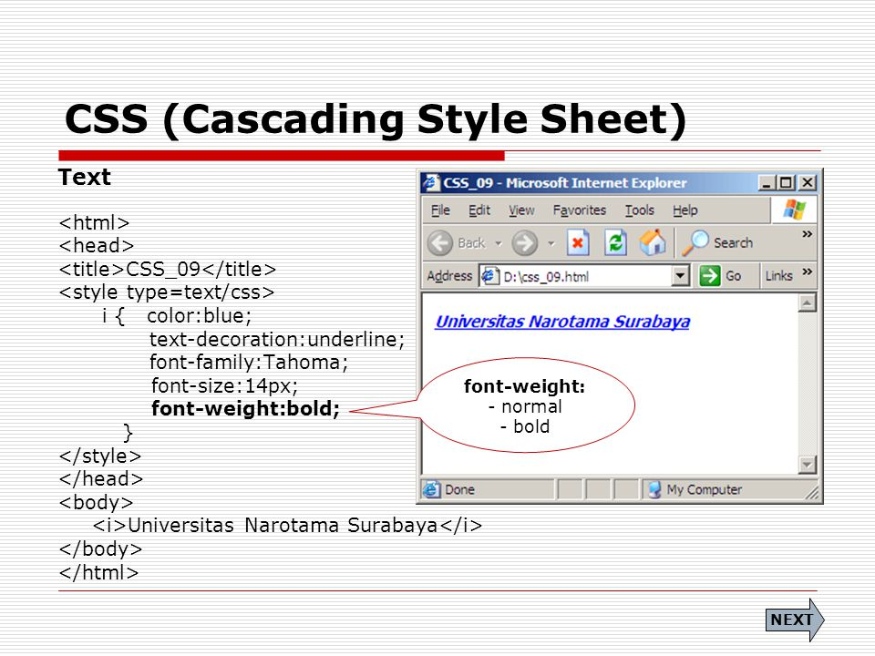 CSS (Cascading Style Sheet) Text CSS_09 i { color:blue; text-decoration:underline; font-family:Tahoma; font-size:14px; font-weight:bold; } Universitas