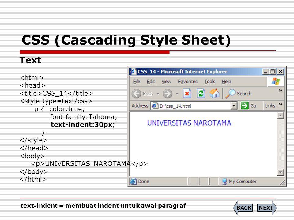 CSS (Cascading Style Sheet) Text CSS_14 p { color:blue; font-family:Tahoma; text-indent:30px; } UNIVERSITAS NAROTAMA NEXTBACK text-indent = membuat in