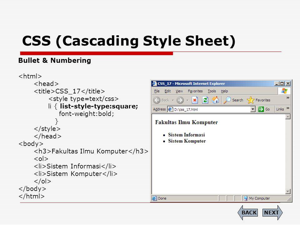 CSS (Cascading Style Sheet) Bullet & Numbering CSS_17 li { list-style-type:square; font-weight:bold; } Fakultas Ilmu Komputer Sistem Informasi Sistem