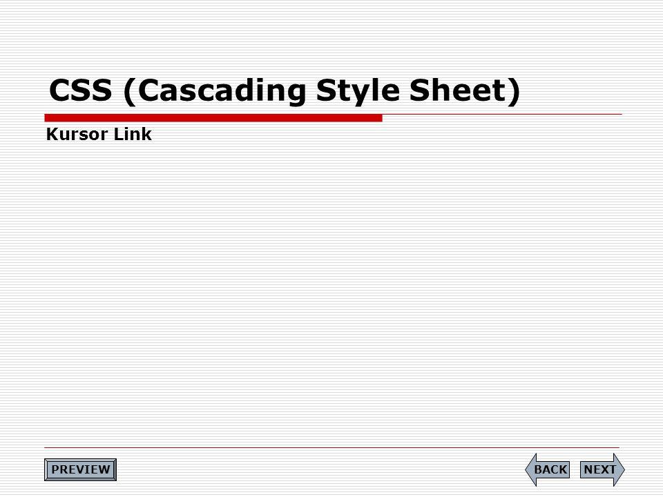 CSS (Cascading Style Sheet) Kursor Link NEXTBACK PREVIEW