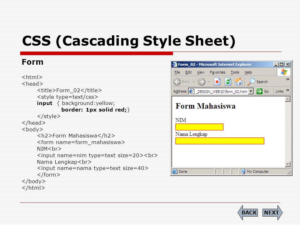 CSS (Cascading Style Sheet) Form Form_02 input { background:yellow; border: 1px solid red;} Form Mahasiswa NIM Nama Lengkap NEXTBACK