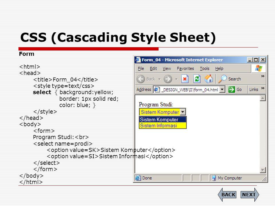 CSS (Cascading Style Sheet) Form Form_04 select { background:yellow; border: 1px solid red; color: blue; } Program Studi: Sistem Komputer Sistem Infor