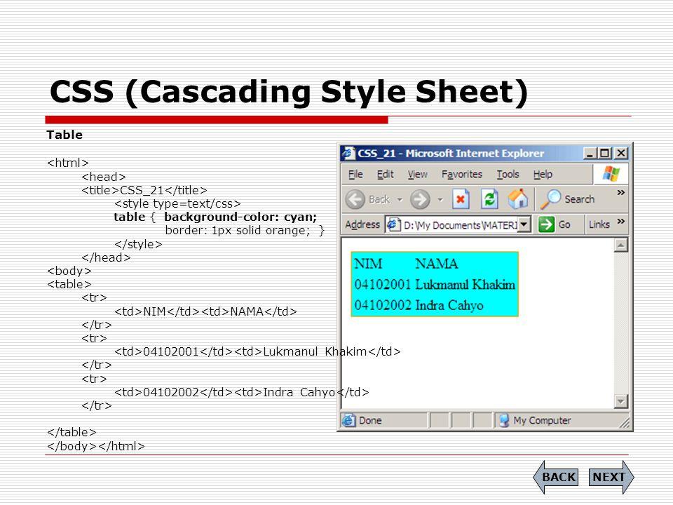 CSS (Cascading Style Sheet) Table CSS_21 table { background-color: cyan; border: 1px solid orange; } NIM NAMA 04102001 Lukmanul Khakim 04102002 Indra