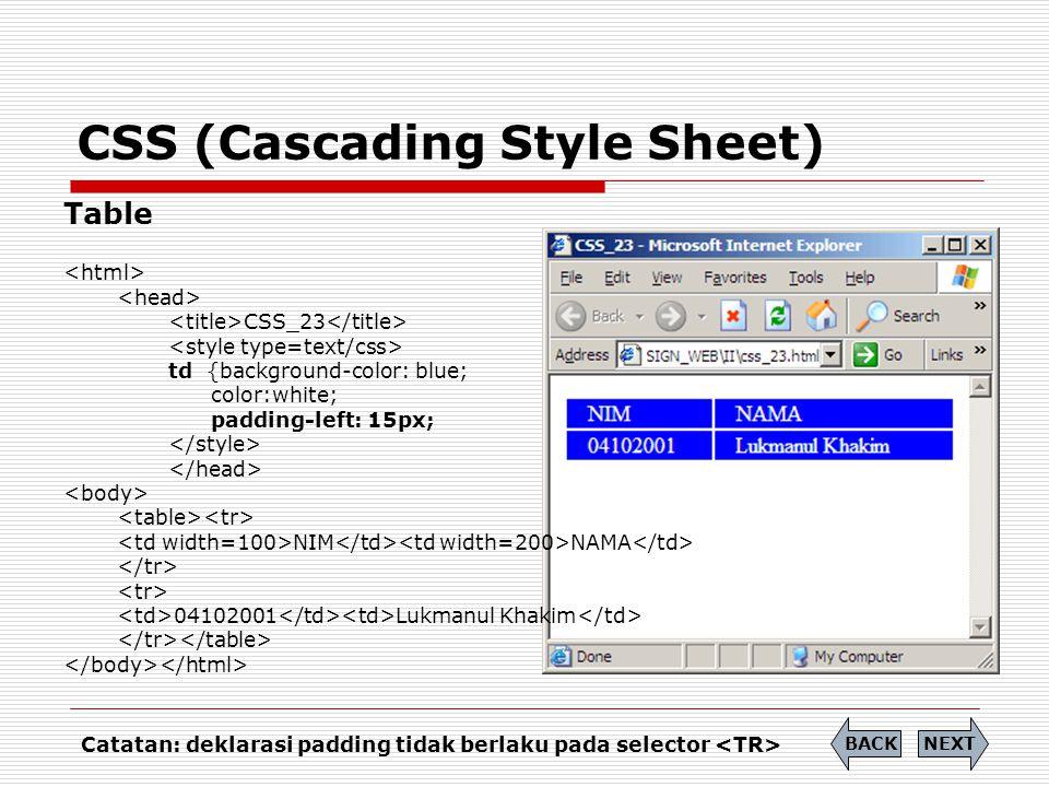 CSS (Cascading Style Sheet) Table CSS_23 td {background-color: blue; color:white; padding-left: 15px; NIM NAMA 04102001 Lukmanul Khakim NEXTBACK Catat