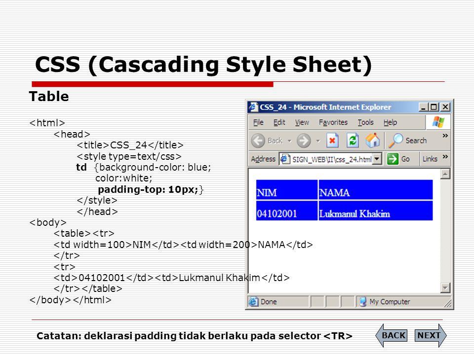 CSS (Cascading Style Sheet) Table CSS_24 td {background-color: blue; color:white; padding-top: 10px;} NIM NAMA 04102001 Lukmanul Khakim NEXTBACK Catat