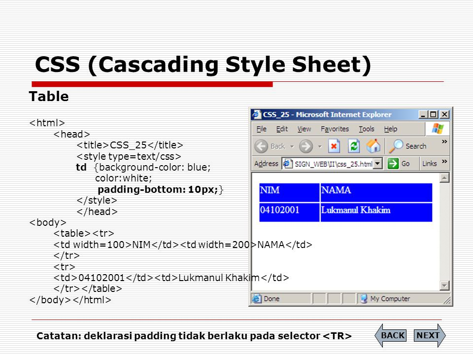 CSS (Cascading Style Sheet) Table CSS_25 td {background-color: blue; color:white; padding-bottom: 10px;} NIM NAMA 04102001 Lukmanul Khakim NEXTBACK Ca
