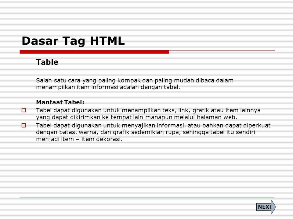 Dasar Tag HTML Table Salah satu cara yang paling kompak dan paling mudah dibaca dalam menampilkan item informasi adalah dengan tabel. Manfaat Tabel: 
