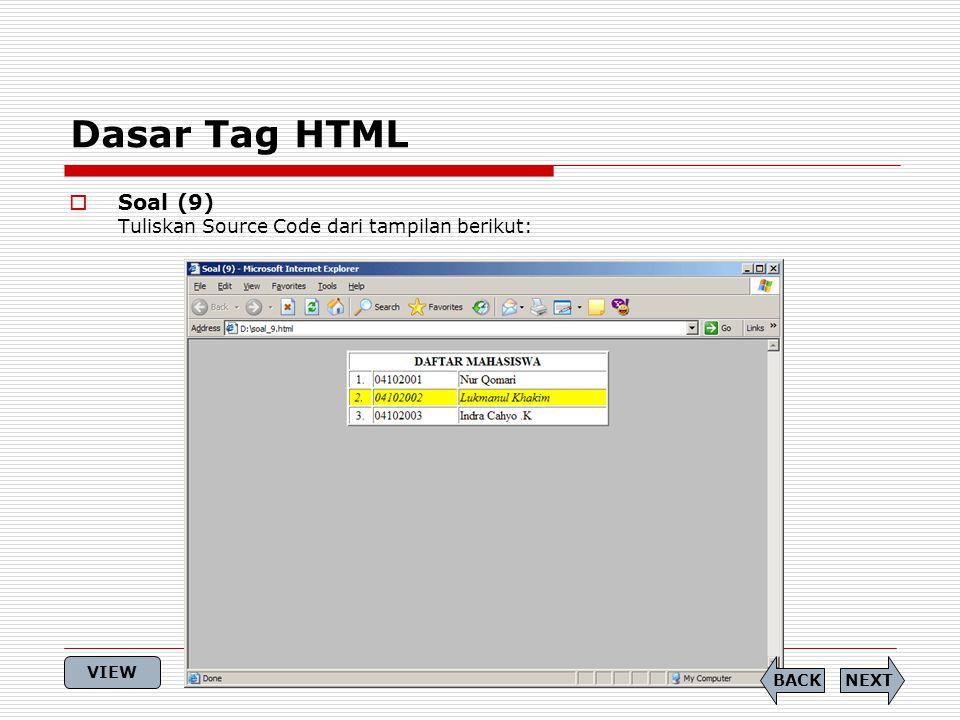 Dasar Tag HTML  Soal (9) Tuliskan Source Code dari tampilan berikut: NEXTBACK VIEW